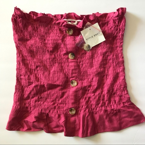 Style Envy Tops - Style Envy Shirred Magenta Tube Top with buttons